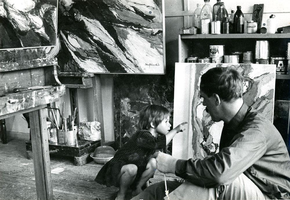 1961 Wim en Judith Strijbosch in atelier Amstelveld 13, foto: Carel Blazer